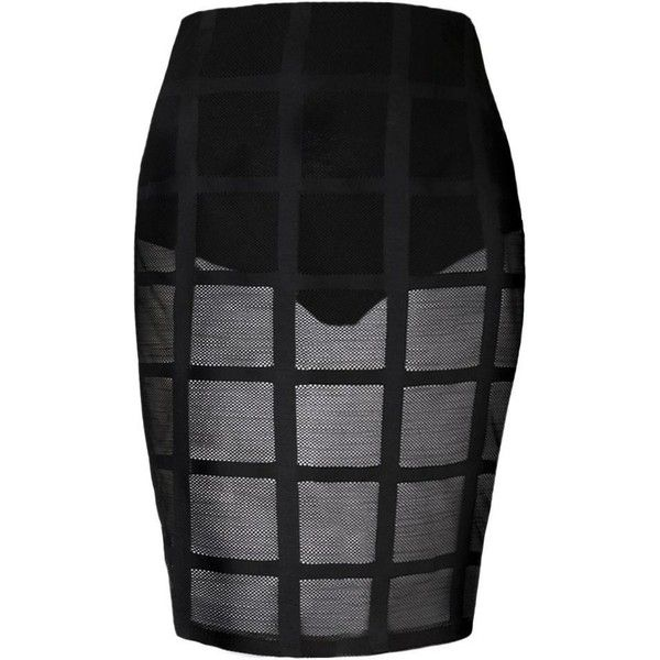 Plus Size Mesh Window Pane Pattern Skirt ($150) ❤ liked on Polyvore featuring skirts, patterned skirts, plus size skirts, patterned pencil skirt, knee length skirts and sheer slip
