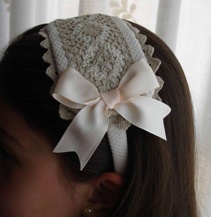 Adornos para el pelo de comunion for Diademas de tela para el cabello