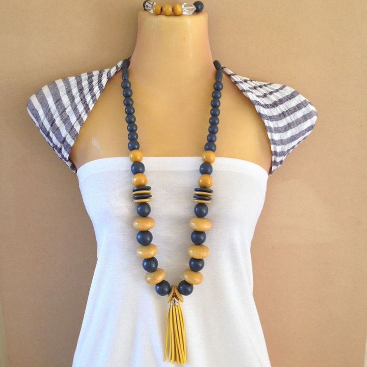 Dark grey and mustard yellow tassel wooden bead necklace and bracelet