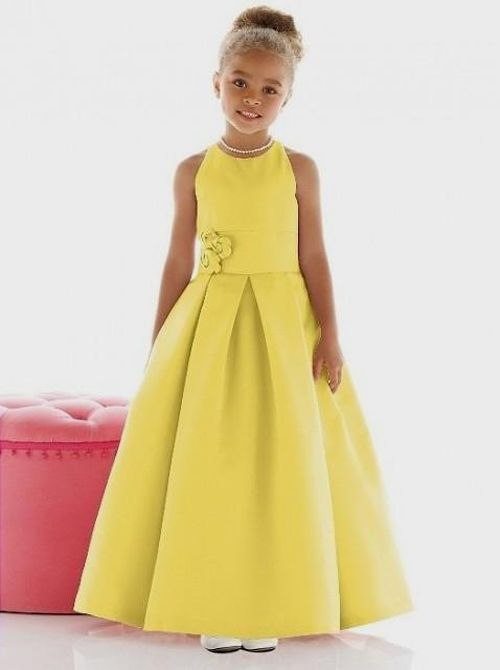 A Line Yellow Flower Dresses
