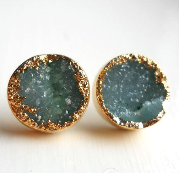 green gold dipped druzy stud earrings