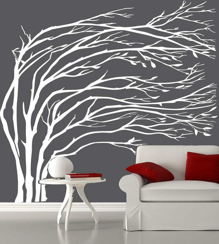 Modern White Blowing Tree Wall Decal Silhouette Sticker 11900