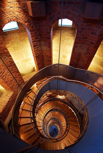 "Inside the Lighthouse, Glasgow, Scotland ""Inside my empty bottle I was constructing a lighthouse while all the others were making ships"". -Charles Simic,"