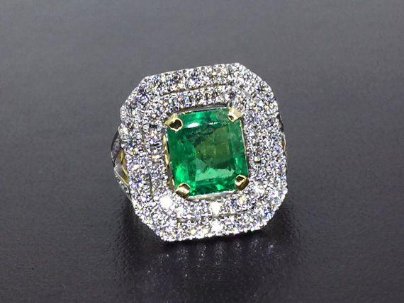 RESERVA Esmeralda COLOMBIANA certificada 4.27TCW & VVS diamantes en 18 k sólido anillo de oro hecho a mano compromiso boda estado natural halo moderno