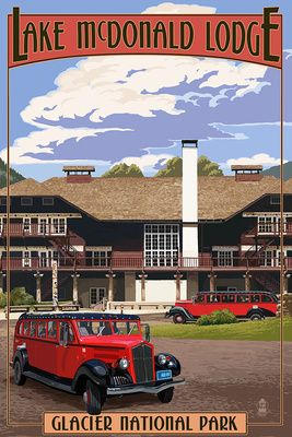 Lake McDonald Lodge & Red Jammers - Glacier National Park, Montana - Lantern Press Poster