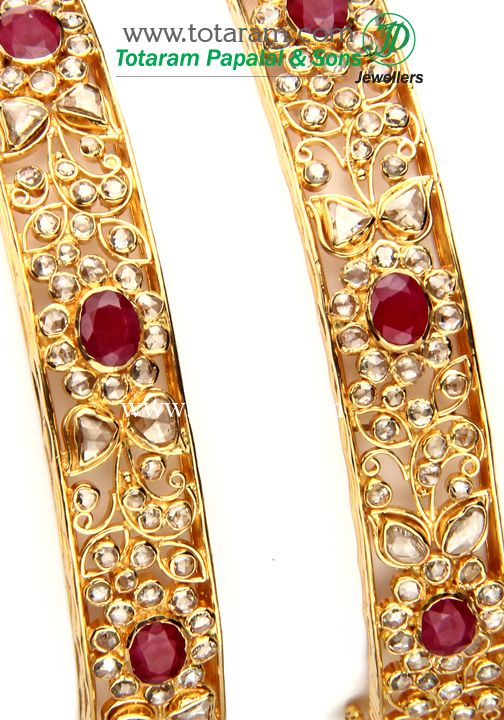 Totaram Jewelers: Buy 22 karat Gold jewelry & Diamond jewellery from India: 22K Gold Kada with Uncut Diamonds & Ruby - 1Pair