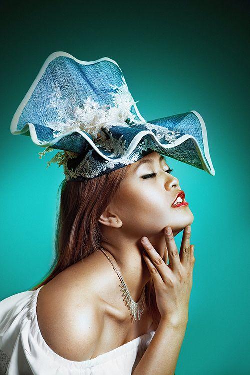 Lace Hat Blue & White