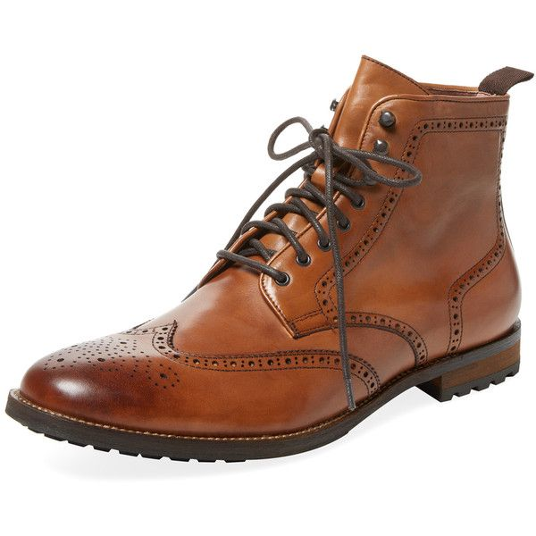 Warfield & Grand Men's Wingtip Leather Boot - Cream/Tan - Size 10 ($119) ❤ liked on Polyvore featuring men's fashion, men's shoes, men's boots, mens tan brogues, mens tan shoes, mens wing tip shoes, mens brogue shoes and mens wingtip boots