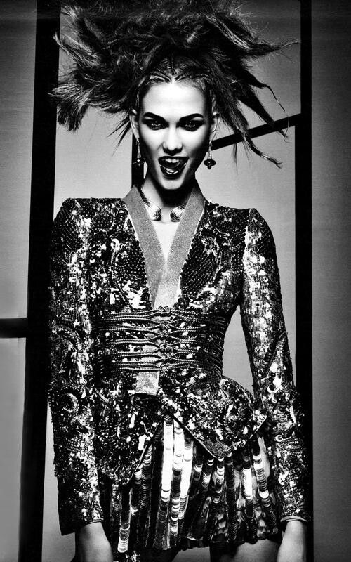 Drama Queen- Karlie Kloss graces the pages of W Magazine's April 2012 issue, as captured by photographer Craig McDean. Stylist Lori Goldstein outfits Karlie in pieces by Chanel, Roberto Cavalli, Dolce & Gabbana and more, while hairstylist Eugene Souleiman sculpts several original hairdos to go with each look. Karlie is dramatic and sexy in this stylish shoot.