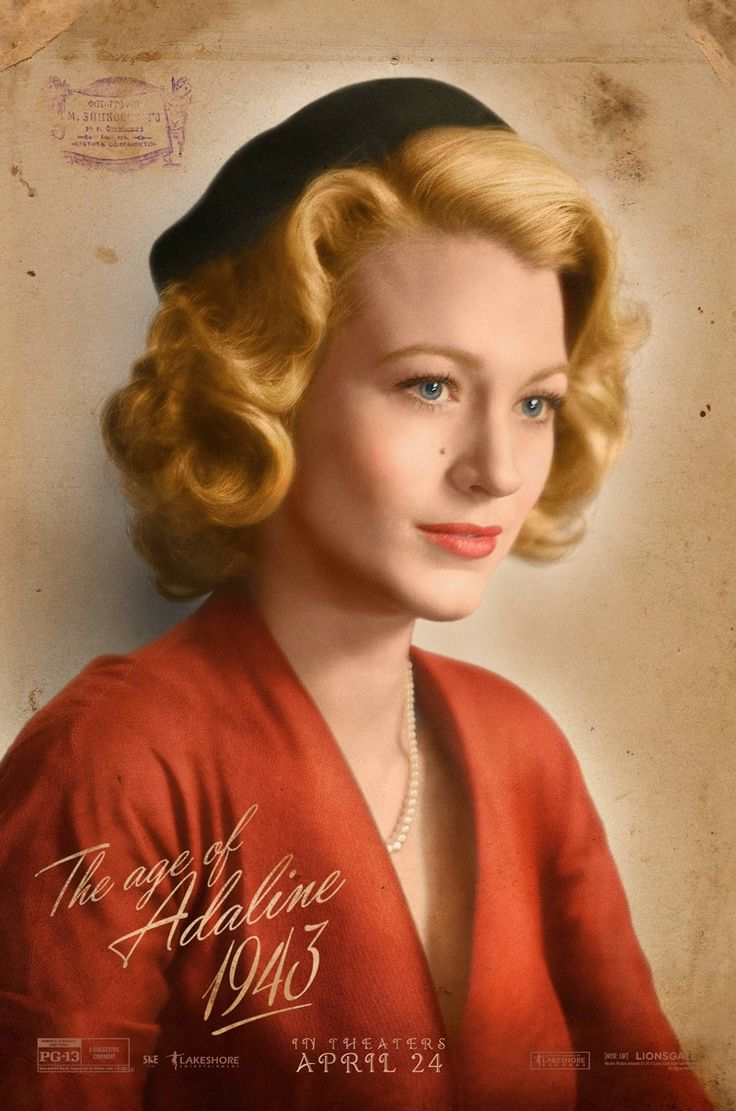 Blake Lively wears a 1940s hairstyle on 'The Age of Adaline' movie poster. (2015) @blackswanballet