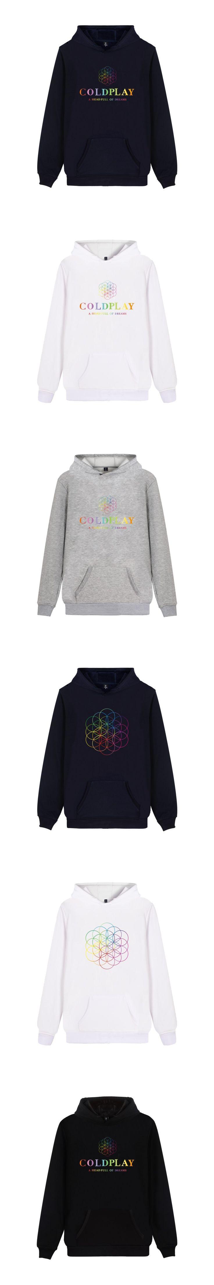 ALIZAZA Fashion Rock Band Mens Hoodies Coldplay Print Unisex Pullover Sweatershirt Autumn Winter Hip Hop Coldplay Band Clothing