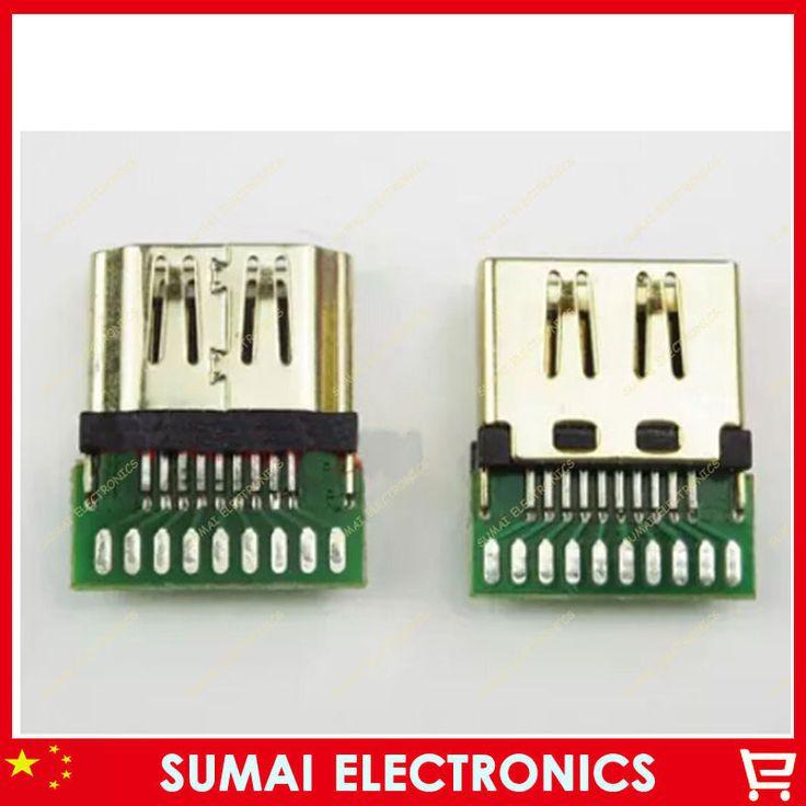 Free shipping 10pcs HDMI A TYPE Standard female socket HDMI Plug With PCB board