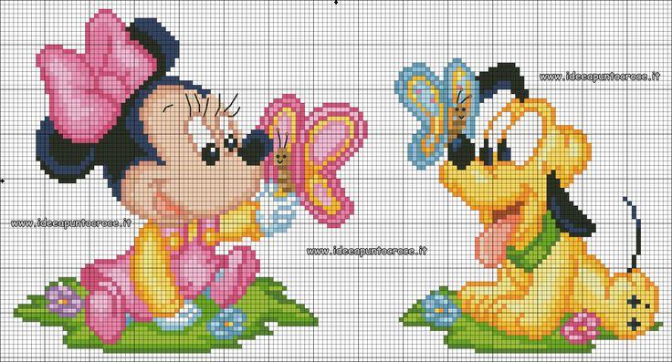 schema punto croce baby Minnie e Pluto