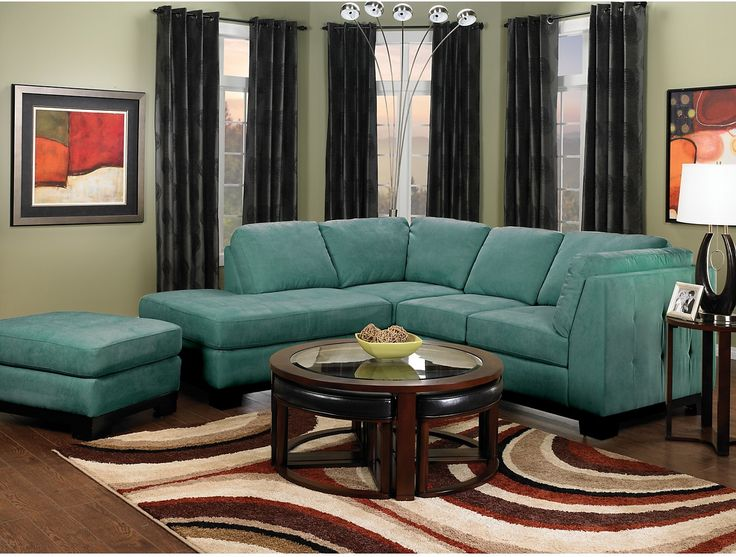 Living room furniture oakdale 2 piece microsuede sectional w left facing chaise azure for Microsuede living room furniture
