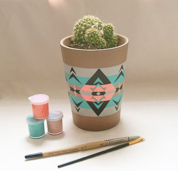 $30 / Valley - Hand Painted Native American Inspired Plant Pot / Flower Pot / Pottery / Planters