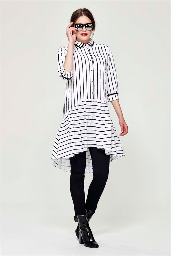The enduring appeal of monochrome stripes will make this dress a favourite season after season. The shirtdress style has a voluminous skirt that drops lower at the back. Contrast trim defines the collar and cuffs. Second Winter 2016 Size & Fit: Model is 177cm tall Model wears a NZ 8/ NZ S/ EU 36/ US 4 Wash Guide: Cool hand wash or gentle machine wash separately. Wash inside out. Do not bleach. Wring. Rub. Soak or tumble dry. Light spin. Line dry immediately in shade. Cool iron on reverse...