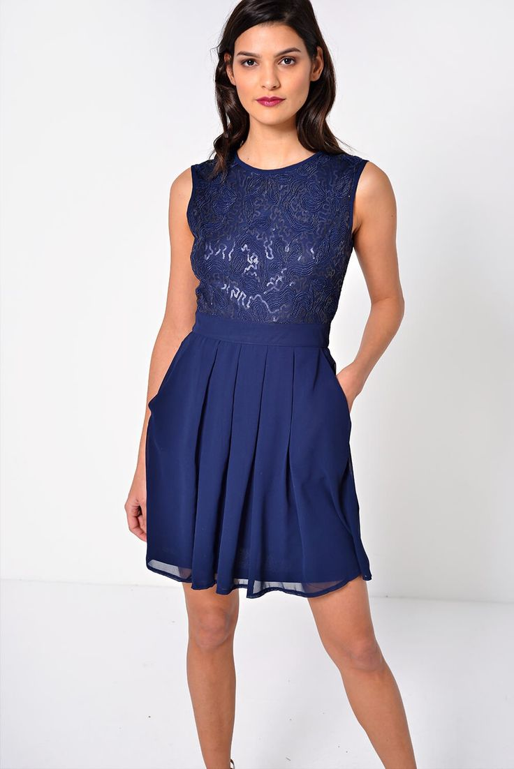 Great for day or nighttime #fashion this safe Tracy Sequin Bodice #dress from @iclothing comes in navy with a smart pleated design 😍