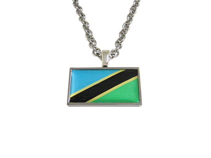 Thin Bordered Tanzania Flag Pendant Necklace