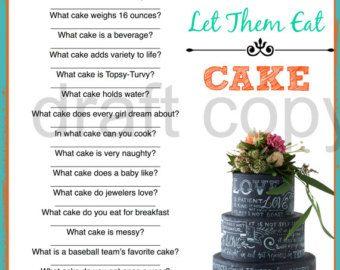 Bridal Shower Game- Cake Trivia-Instant Download
