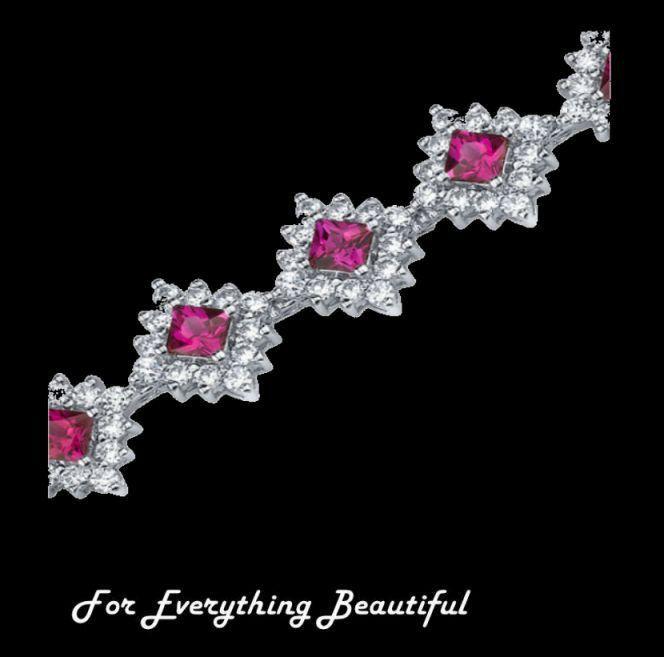 Ruby Princess Cut Round Cubic Zirconia Sterling Silver Bracelet