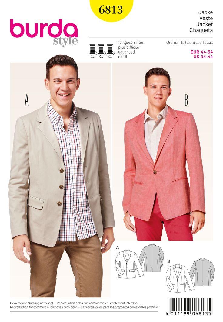 Men's mandarin jacket sewing pattern