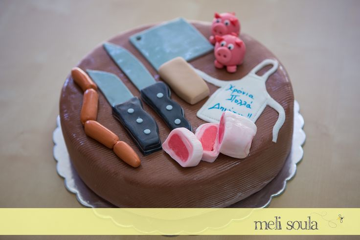 #Birthday #Chocolate #cake with #sugarpaste by #Melisoula for a lovely #butcher