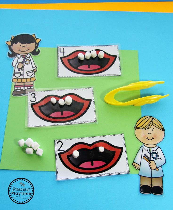 Community Helpers - Dentist and Teeth Counting Activity for kids.