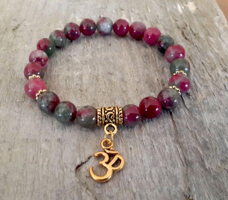 Om Wrist Mala Womens Prayer Beads Bracelet, Pink Green Agate, Watermelon Agate, Gemstones Spiritual Yoga Mala Jewelry, Girlfriend gift idea by Braceletshomme on Etsy #etsymntt #etsyspacialT