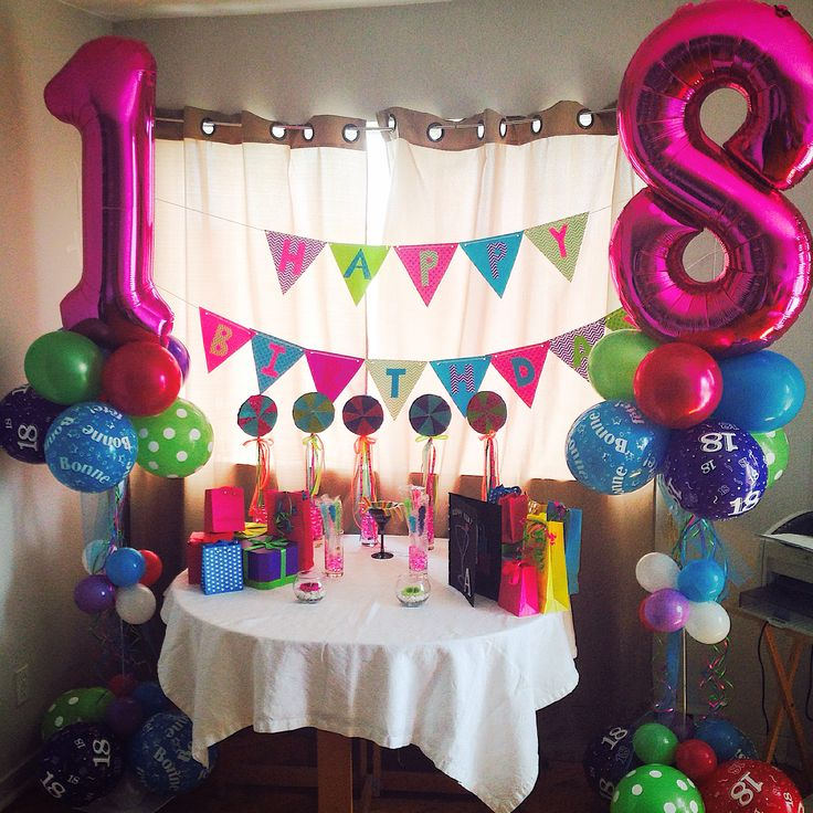 Decoration for my sister's 18th birthday!! I did everything on my own, but I got all my ideas from pinterest! I work at a balloon shop so it was super easy to make the balloon columns.