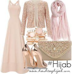 Hijab Fashion 2016/2017: Dieses in Pastelltönen gehaltene Outfit sieht verspielt und klassisch-edel zugleich aus.