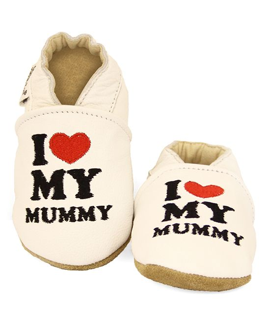 White 'I Heart My Mummy' Booties