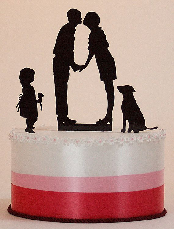 Custom Wedding Cake Topper Silhouettes with Couple, Child and Pet. by Silhouette Artist Kathryn Flocken of www.PaperPortraits.com