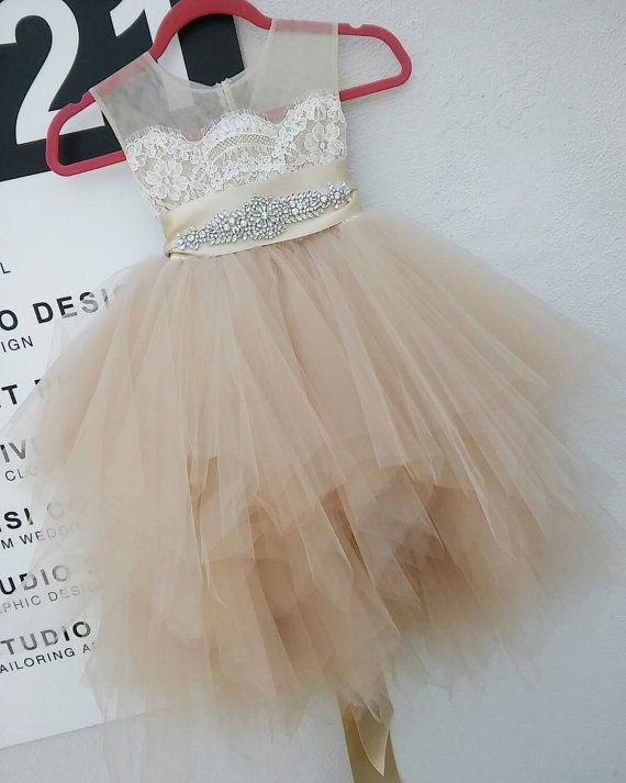 Champagne blush 'Bianca' flowergirl dress