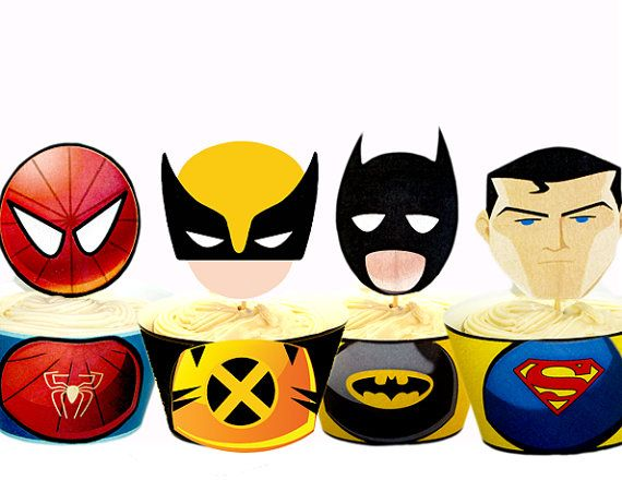 INSTANT DOWNLOAD Superhero Cupcake Toppers  Wrappers - Printable Superhero Party on Etsy, $8.00