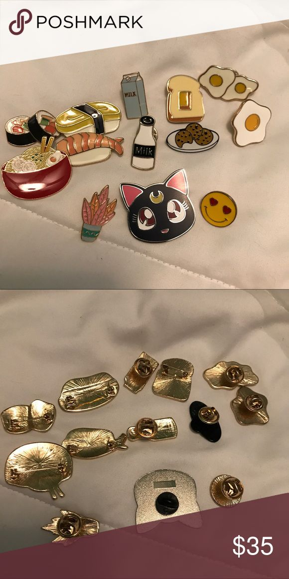 Forever 21 and Sailor Moon Enamel Pins ♡condition - New ♡features - Super cute pins for backpacks and denim jackets and more! sushi, ramen noodle soup, luna, heart eye emojis, pink cactus plant, cookies, milk, toast, eggs,  ♡prices always negotiable ♡all items are cross-posted so grab them fast ♡tags - aesthetic alien grunge vintage 90s dream reality cute kawaii harajuku jfashion japanese fashion american spring summer sun skirt dress short wedding floral trendy boho poshers poshmark Forever…
