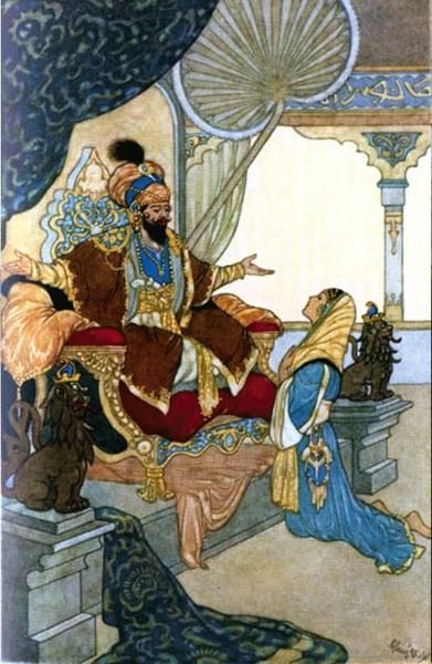 The story teller Scheherezade kneeling before king Shahryar in one of Rene Bull's illustrations for the 1,001 Nights:.