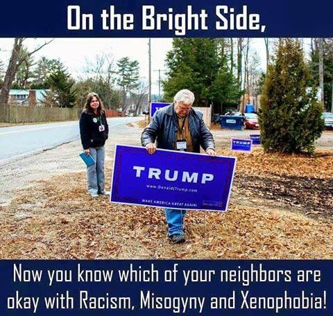 Trump signs - On the bright side, you no know which of your neighbors are okay with racism, misogyny and xenophobia.