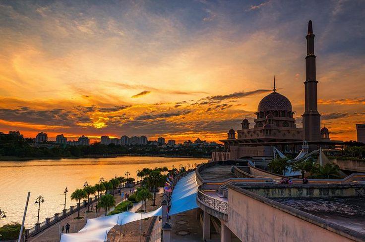 putrajaya mosque at sunset