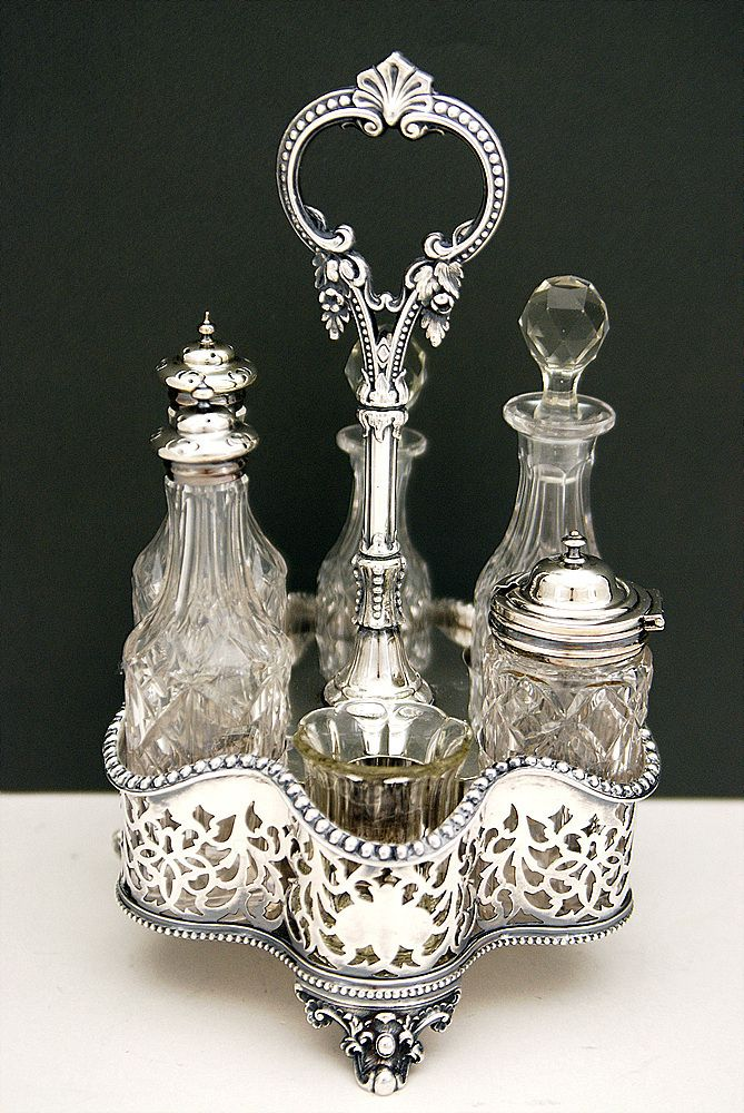 Finest Victorian Silver Plated 6 Bottles Cruet Set. WOW!