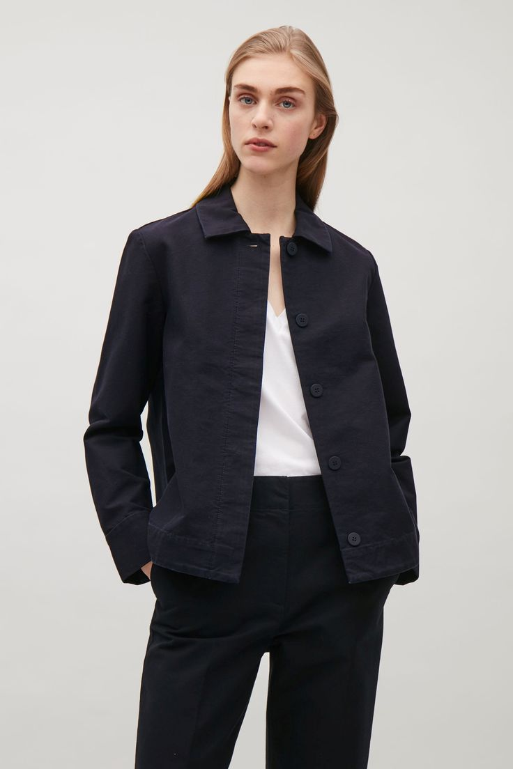 COS image 2 of Boxy twill jacket in Dark Navy