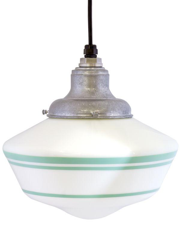 Elementary Schoolhouse Cord Hung Light, Large Shade, Galvanized, Triple  Jadite Stripe