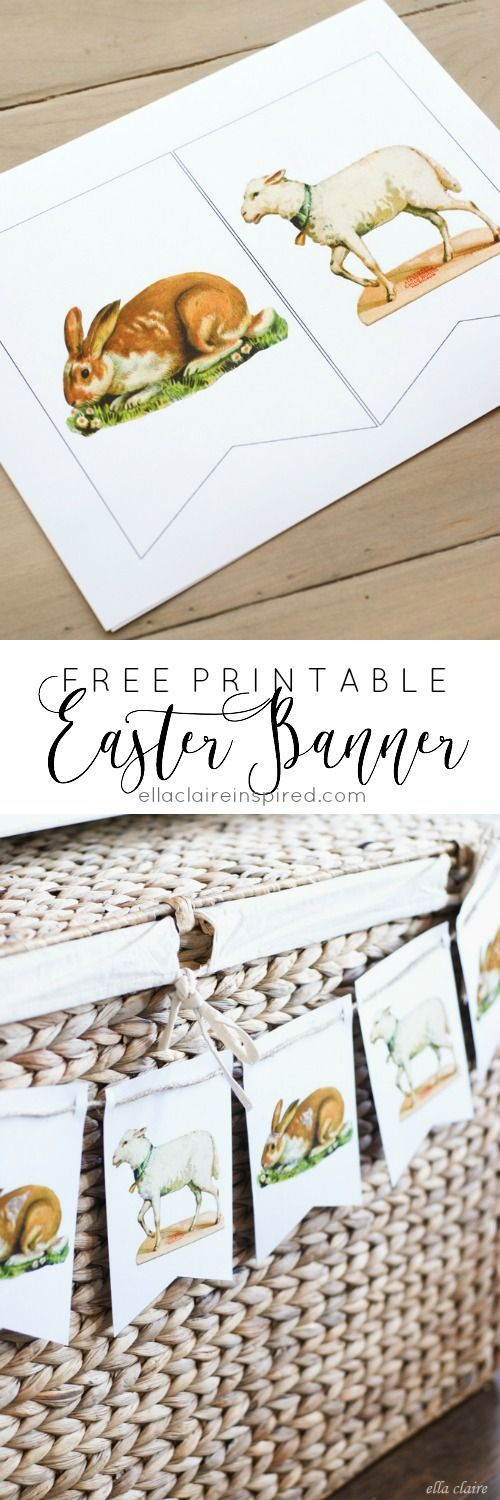 This adorable Free Printable Vintage Easter Banner is perfect for neutral Easter decor or even a nursery!