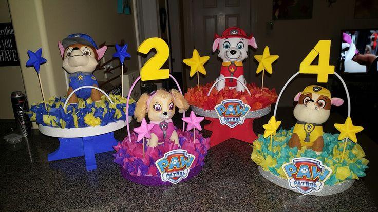 Paw patrol centerpieces DIY birthday party