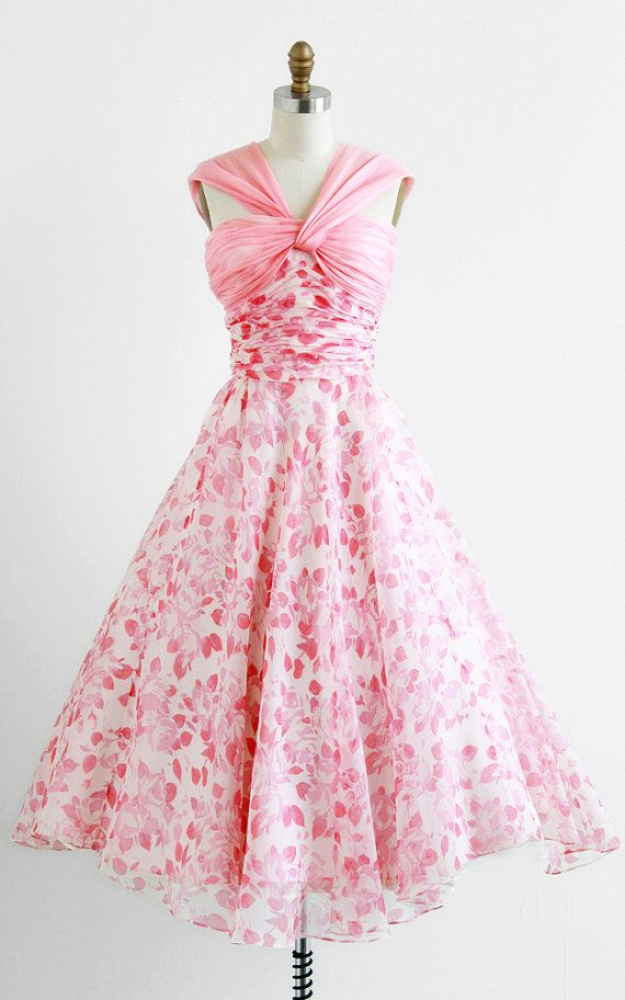 1950s Dress: sheer pink+white roses floral print organza, pink organza pleated bust + v straps, ruched bodice, nipped in waist+full asymmetrical skirt, fully lined in silky pink.