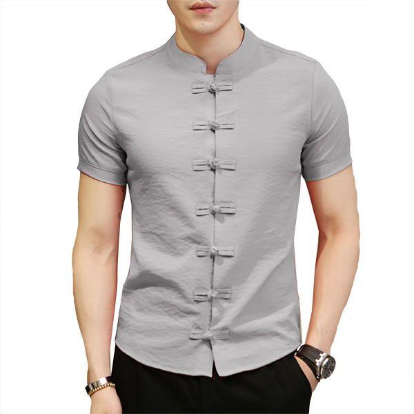 Chinese Knot Buckle Vintage Chic Mandarin Collar Men Shirts Tops from Men's  Clothing on banggood.com | Men shirt style, Formal shirts for men, Mens  designer shirts