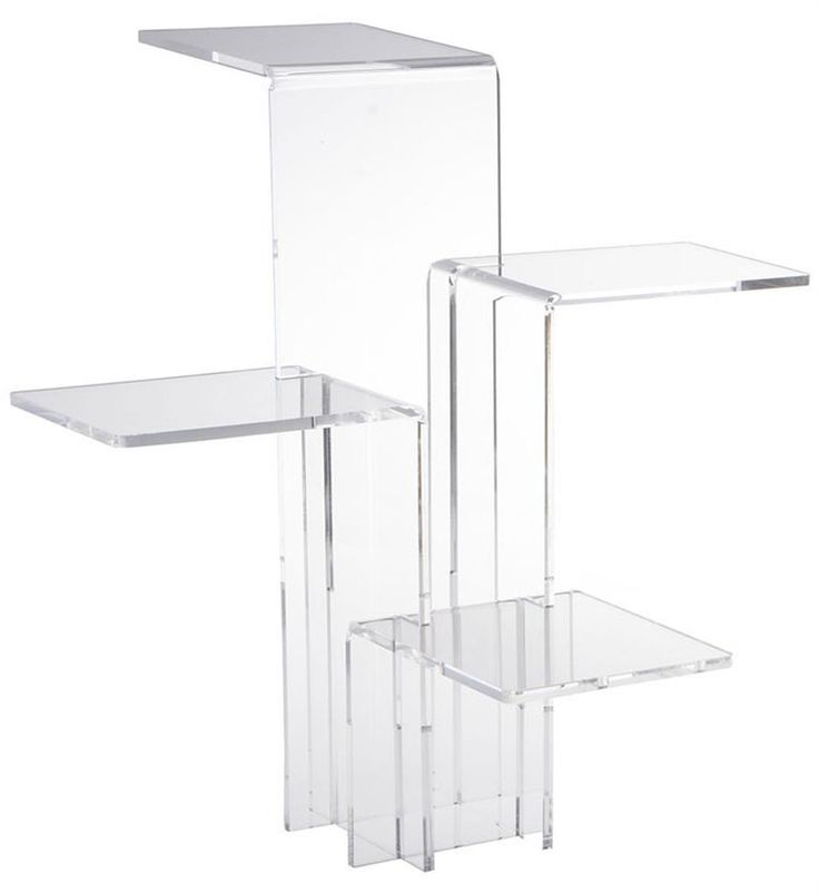 Tiered Acrylic Display Riser with 4 Platforms, Set of 2 - Clear