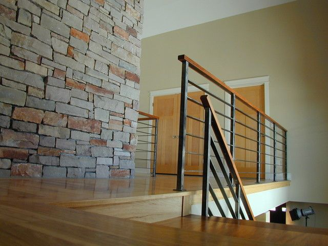 modern staircase with brick wall contempoary stair railing modern staircase amazing contemporary stair railing designs - Wall Railings Designs