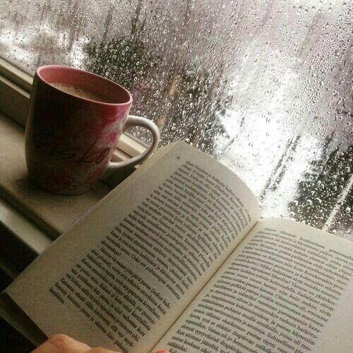 Mi dia perfecto una tarde de lluvia, un buen libro y una taza de cafe.