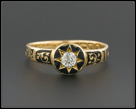 Antique Victorian Diamond Mourning Ring 18k by TrademarkAntiques