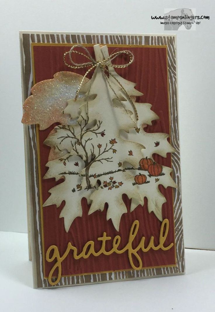 Stampin' Up! Happy Scenes on Leaflets Thinlits. Woodgrain TIEF background. http://stampsnlingers.com/2015/09/24/stampin-up-happy-scenes-on-vintage-leaflets/